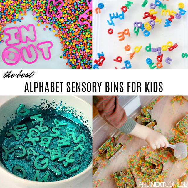 Alphabet sensory bin ideas for kids who love letters