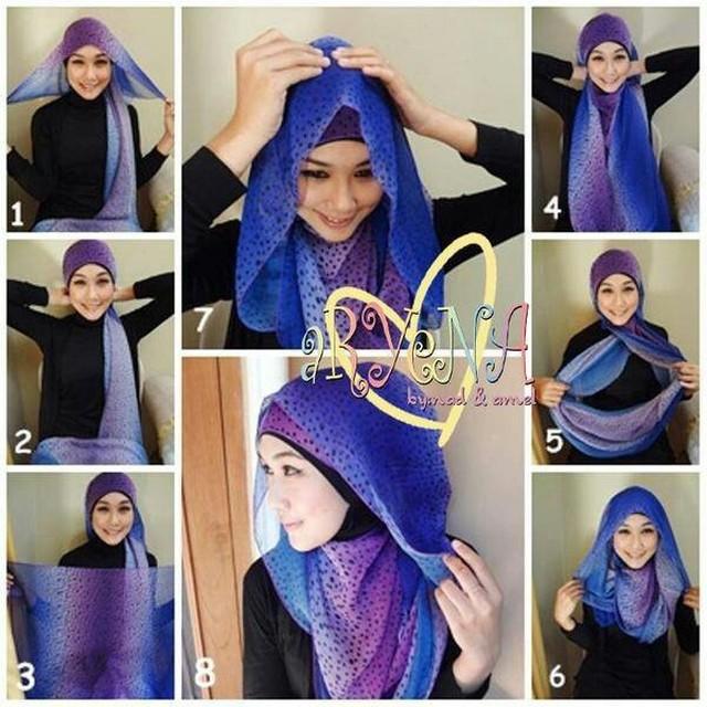 tutorial hijab pashmina simple tanpa jarum