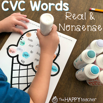 Dab each CVC word with a bingo marker. Cross out the nonsense words.