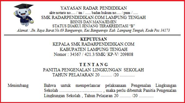 Contoh SK Panitia MOS/MPLS T.P 2019/2020 SMP SMK SMA DOC