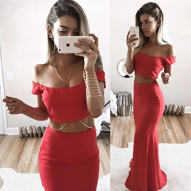 Long Two-Piece Mermaid Sexy Off-Shoulder Red Prom Dress