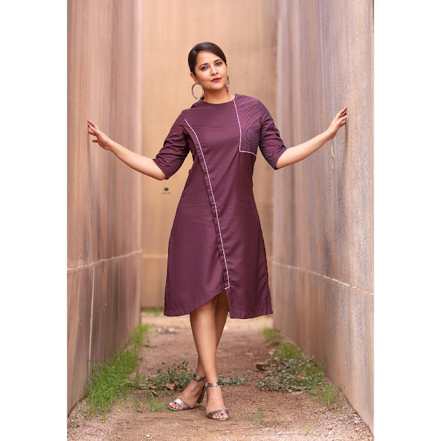 Anchor Anasuya Bharadwaj Purple Dress New Pictures in Sexy Poses Actress Trend