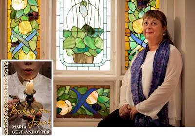 Maria Gustavsdotter i kyrkomiljö inomhus, collage med bokomslag