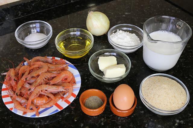 Ingredientes para croquetas de gambas