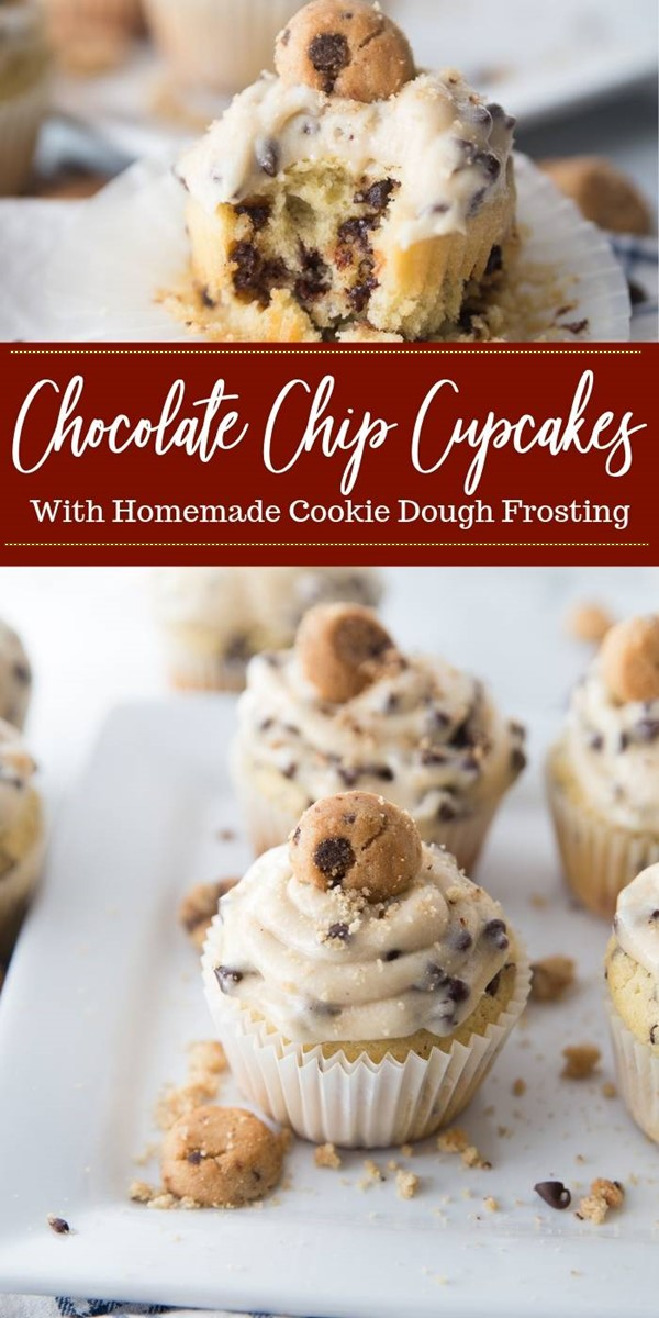 Chocolate Chip Cupcakes with Cookie Dough Frosting #cupcakesrecipes