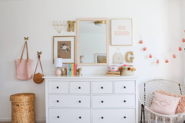 Gallery Wall and Dresser Styling with macrame and rattan accents