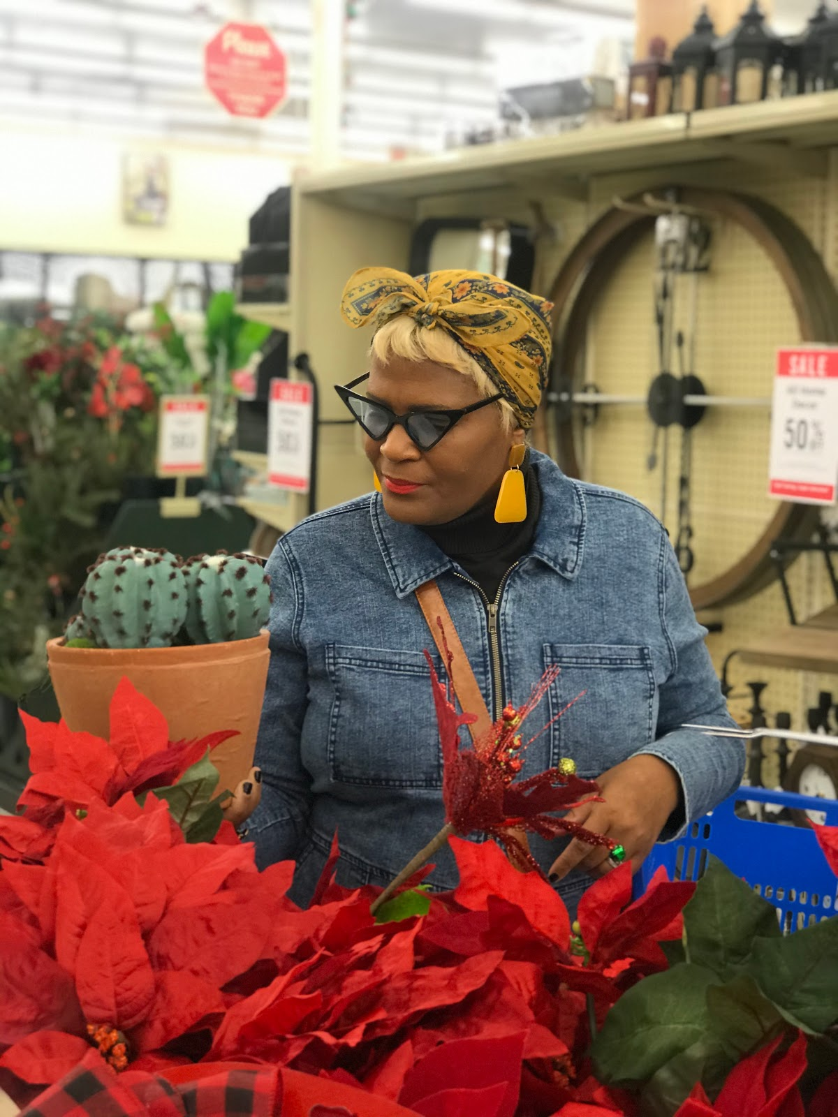 Tangie Bell shopping plants at the craft store for the Christmas holidays