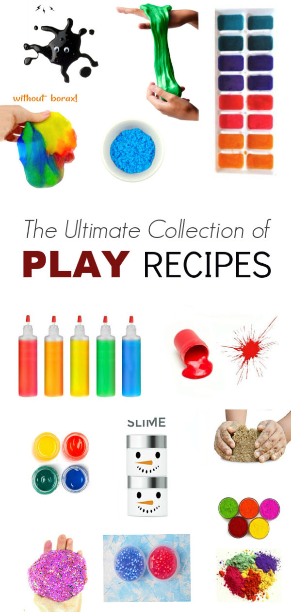 100+ RECIPES FOR PLAY! Recipes for slime, play dough, snow, goop, & more! The ultimate collection! #playrecipesforkids #slime #slimerecipe #slimerecipeeasy #slimeforkids #playdough #playdoughrecipe #growingajeweledrose #playlearngrow
