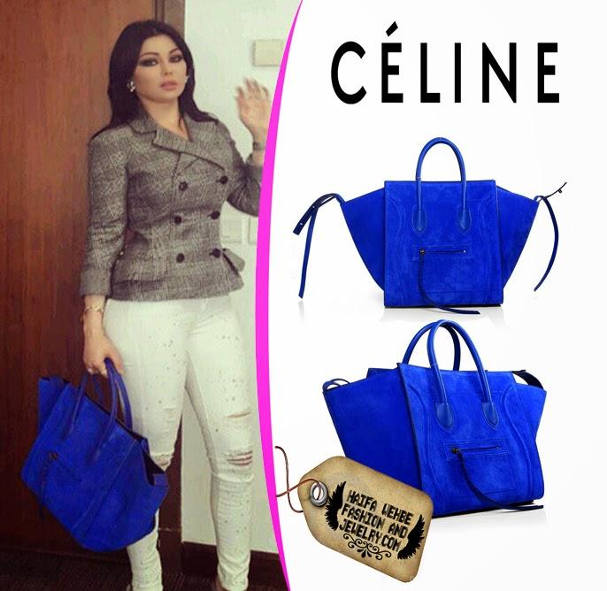 Haifa Wehbe Wearing Blue Suede Celine Luggage Phantom Bag by Celine 64eea69a8ff0e