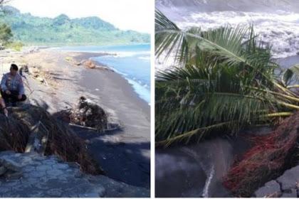 Cegah Adanya Korban, Polres Lumajang Pasang Police line Dilokasi Abrasi Pantai Tegalbanteng