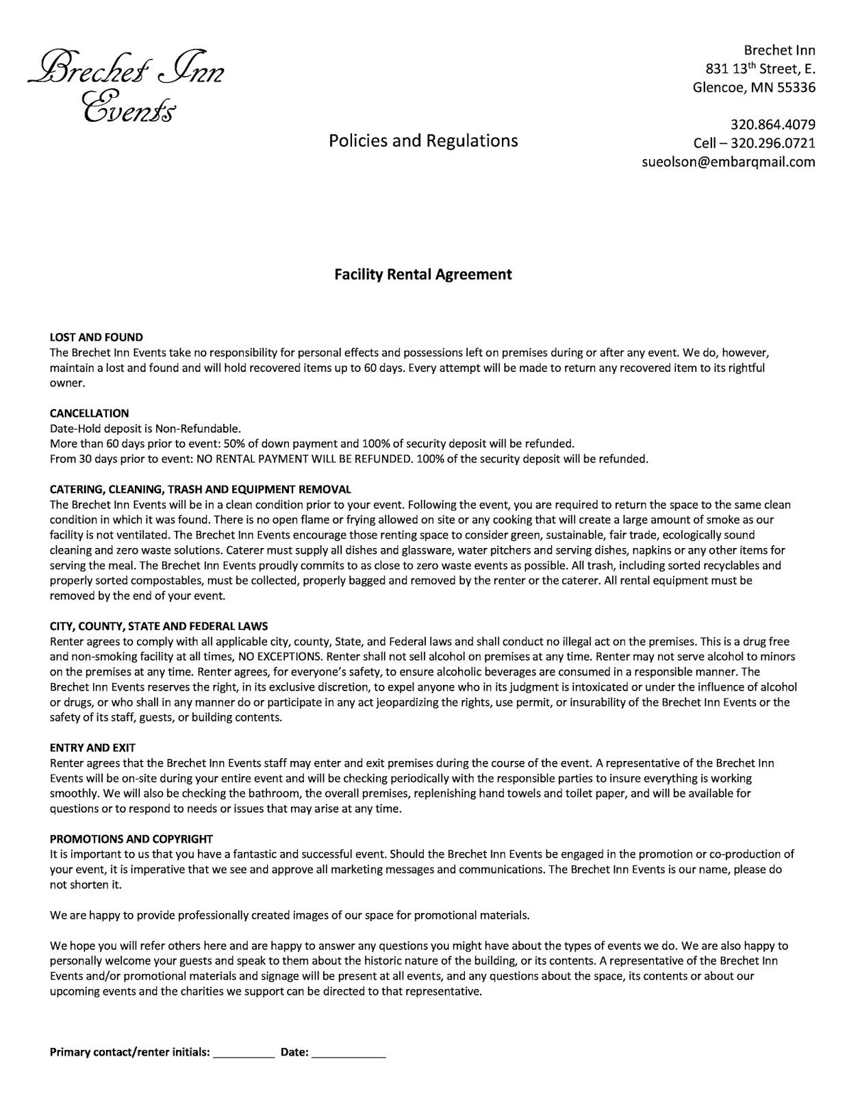 Brechet inn bed and breakfast glencoe mn event rental agreement form event rental agreement form platinumwayz