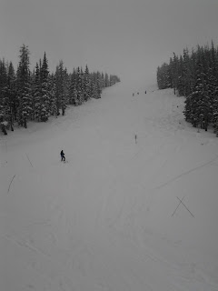 Ski slope with four skiing down a steep run on a snowy and cloudy day.
