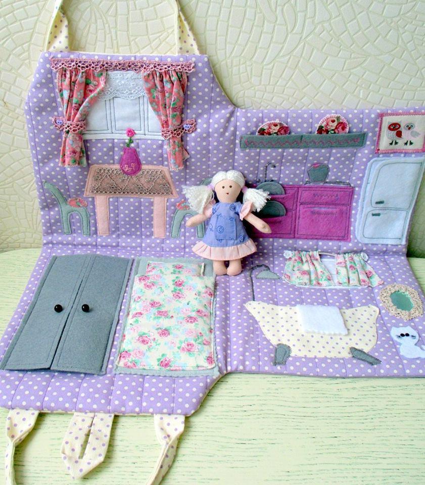 Кукольный домик своими руками из ткани 25