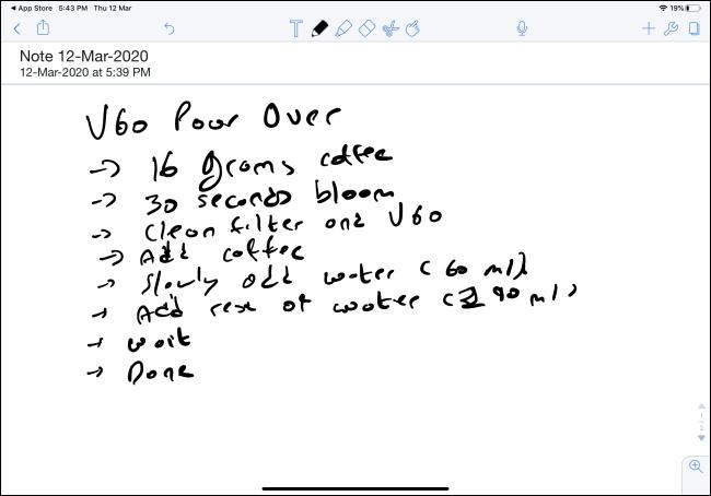 ملاحظة مكتوبة بخط اليد في Notability