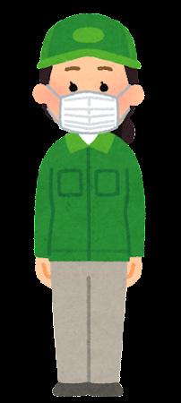 マスクを付けた配達員のイラスト(女性)