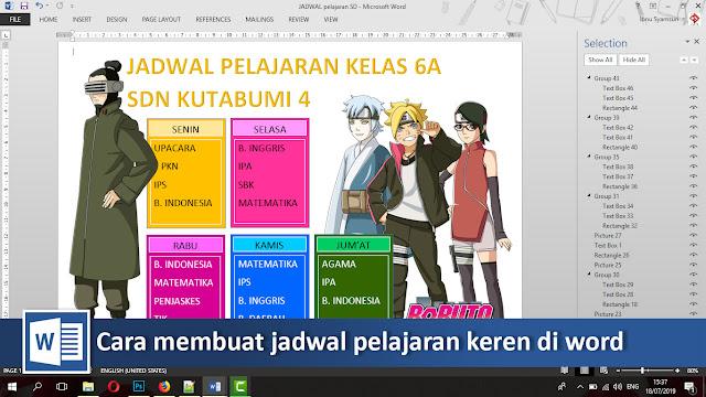 Cara membuat jadwal pelajaran bergambar keren di Microsoft word + video