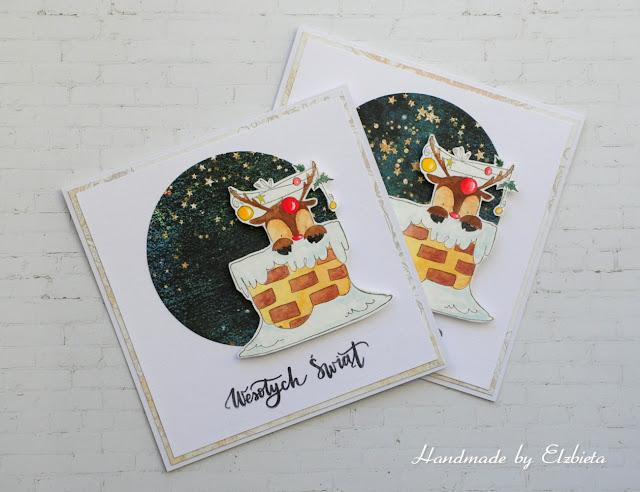 Świąteczne kartki z reniferem – inspiracja dla Białe Kruczki