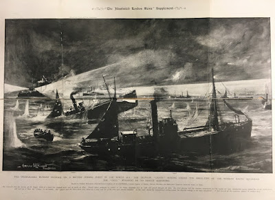 Hull's North Sea Gamecock fleet under attack from the Russian Navy in 1904