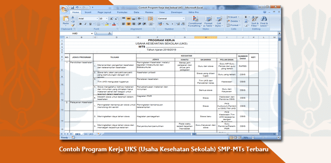 Contoh Program Kerja UKS (Usaha Kesehatan Sekolah) SMP-MTs Terbaru