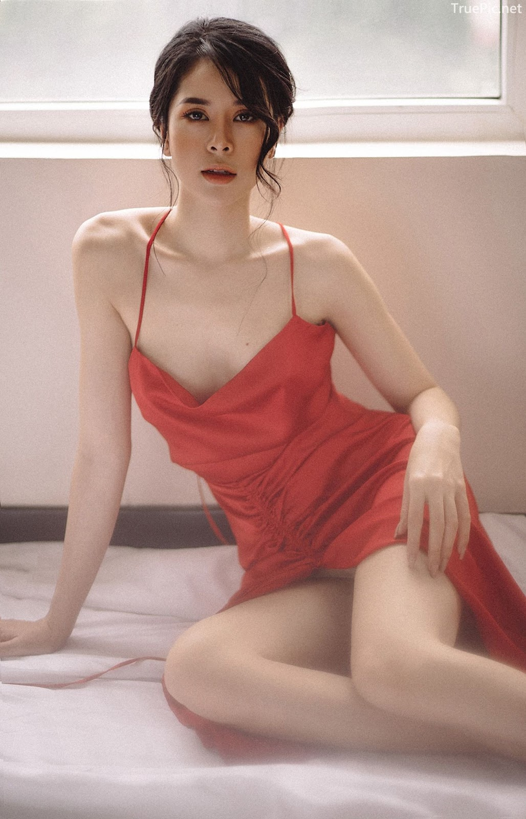 Vietnamese hot model - The beauty of Women with Red Camisole Dress - Photo by Linh Phan - Picture 4