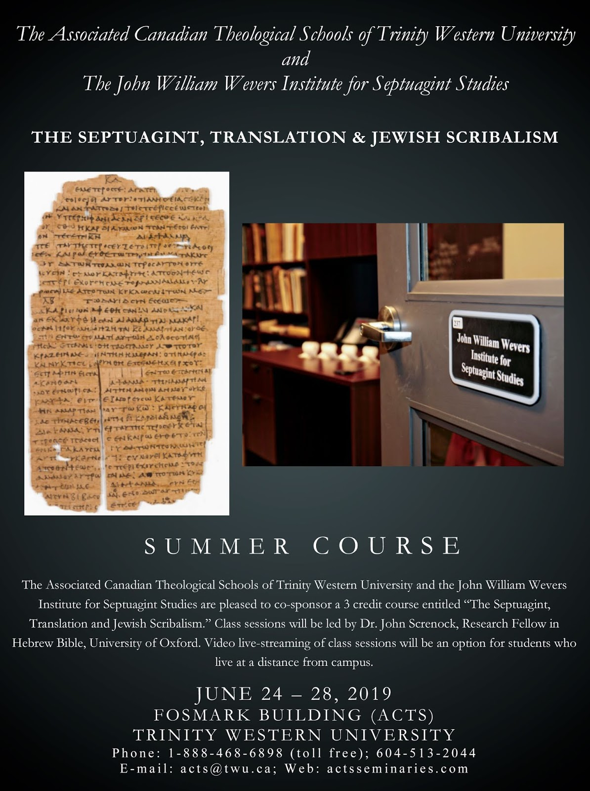 Evangelical Textual Criticism: Septuagint Summer Course at Trinity