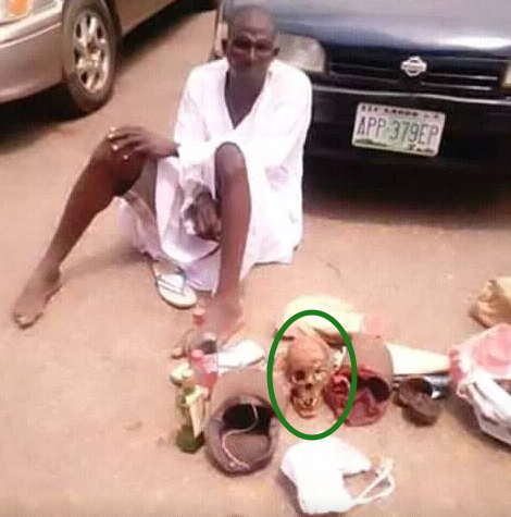 pastor%2Barrested%2Bwith%2Bhuman%2Bskull%2Band%2Bcharms - Photo : Pastor Turned Ritualist Arrested With Human Skull & Charms In Ibadan Oyo State