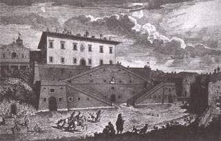 An 18th century depiction of the Medici villa at the Tuscan town of Cerreto Guidi, south of Florence