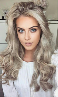 cute women long blonde hairstyle