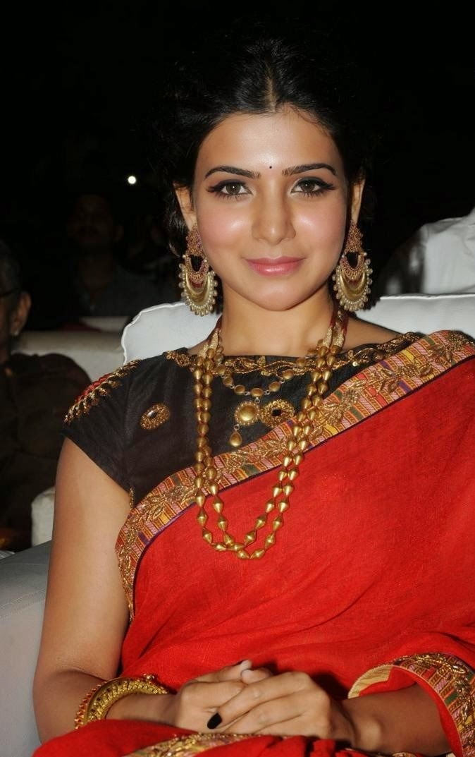 Samantha Photos In Red Saree At Movie Audio Launch