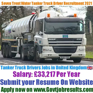 Severn Trent Water Tanker Truck Driver Recruitment 2021-22