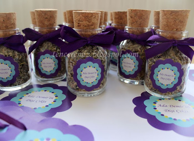 mantar tıpalı lavanta şişesi bebek hediyeliği
