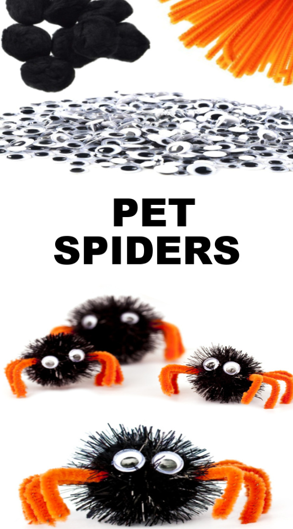 Make pet spiders using pom poms and hot glue.  How cute is this Halloween craft for preschool? I love it! #spidercraft #spidercraftspreschool #spidercraftsforkids #spiderart #spiderartpreschool #spideractivitiesforpreschool #halloweencrafts #halloweenactivityforkids #growingajeweledrose #activitiesforkids