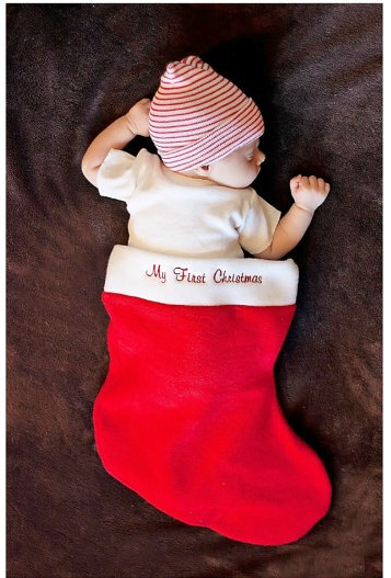 Baby's first Christmas stocking photo prop