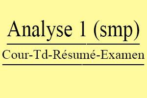 Analyse 1 SMP Cours // Td Et Exercices // Résumés // Examens