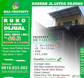 Rumah Ruko 1 1/2 Tingkat dijual daerah letda sujono tembung <del>Rp 500 Jt</del> <price>Rp 470 Jt</price> <code>RUKOLETSUPADANG</code>