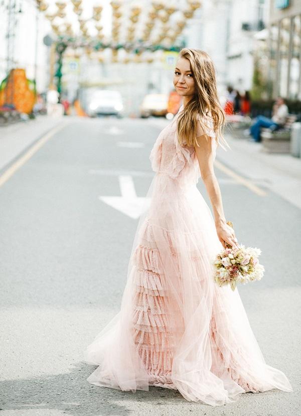 Boda Rusia vestido de novia rosa