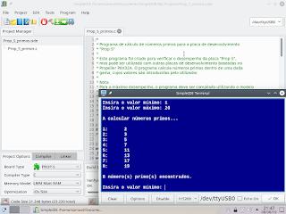 Programa de demonstração a correr no terminal do SimpleIDE.