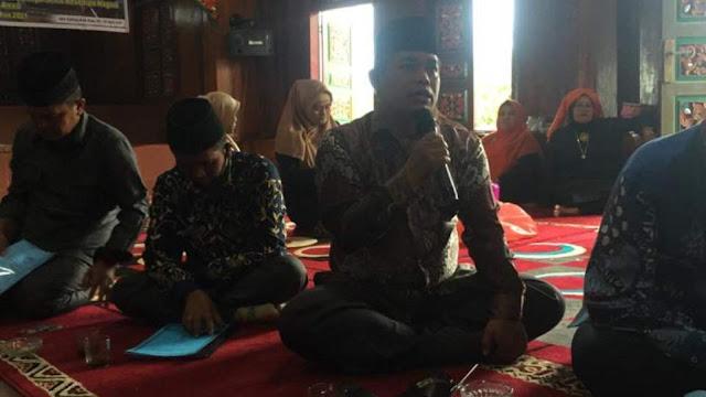 Edi Setiawan, A.md, Walinagari Koto Gadang Koto Anau saat bicara pada diskusi Grand Design Pemajuan Kebudayaan Nagari Koto Gadang Koto Anau, Sabtu 3 April 2021. (Dok. Istimewa)