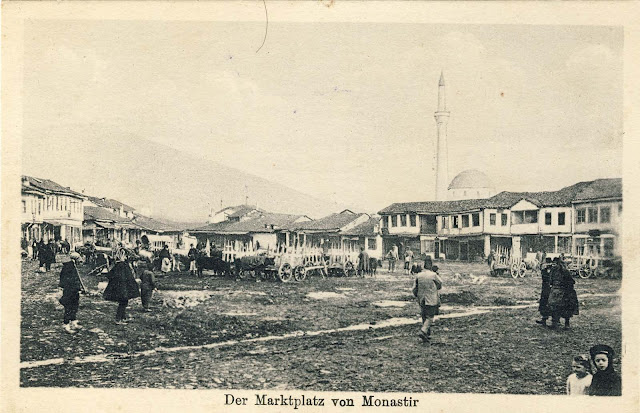 """Drven Pazar"" (Wood Market) with a view to Pelister, 1915."