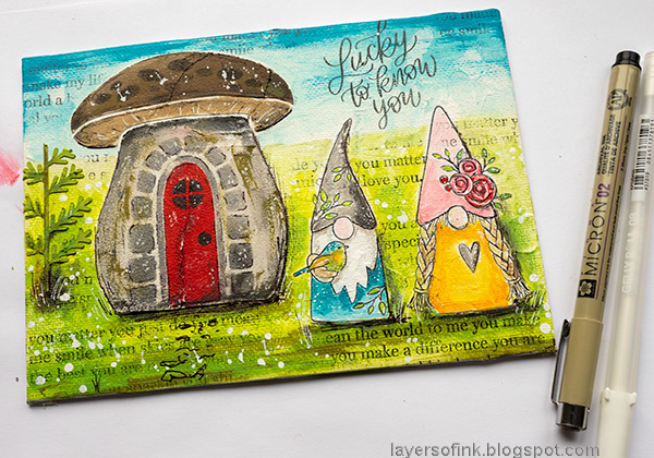 Layers of ink - Gnome Home Mixed Media Canvas Tutorial by Anna-Karin Evaldsson. Pen work.