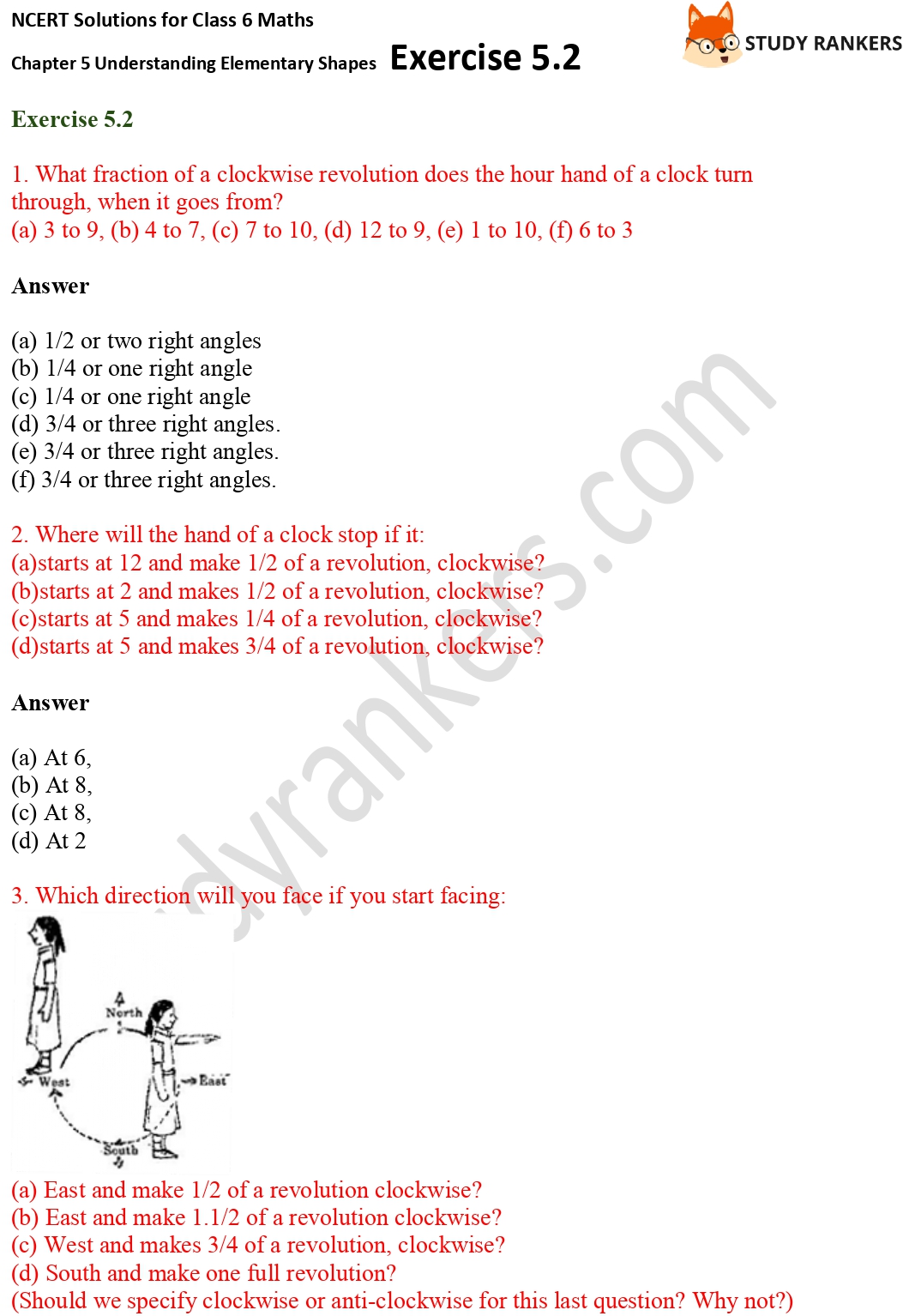 NCERT Solutions for Class 6 Maths Chapter 5 Understanding Elementary Shapes Exercise 5.2 Part 1