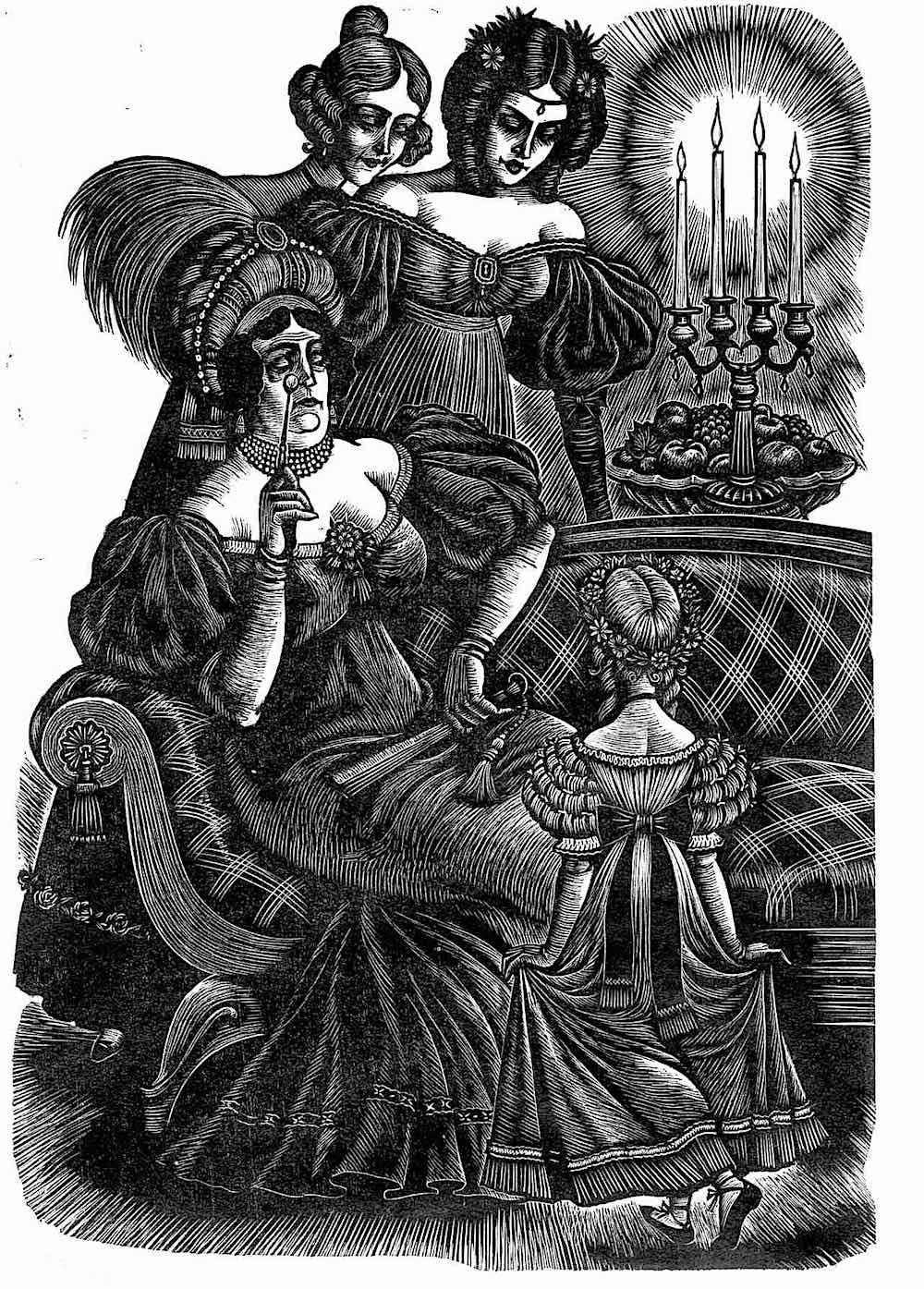 a Fritz Eichenberg illustration of a little girl properly curtsying for older women