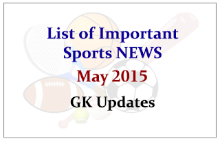 List of Important Sports NEWS- May 2015