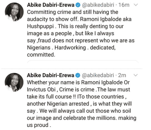 """""""Committing crime and still having the audacity to show off""""- Abike Dabiri-Erewa reacts to viral video of Hushpuppi's arrest"""