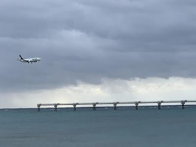 着陸態勢の機体