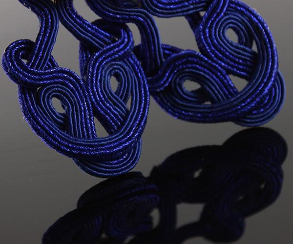 Openwork navy blue  soutache earrings with crystals
