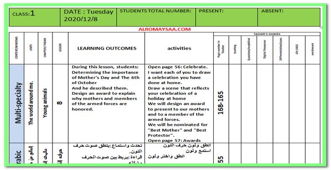تحضير المستوى الاول لغات ليوم الثلاثاء 8 ديسمبر