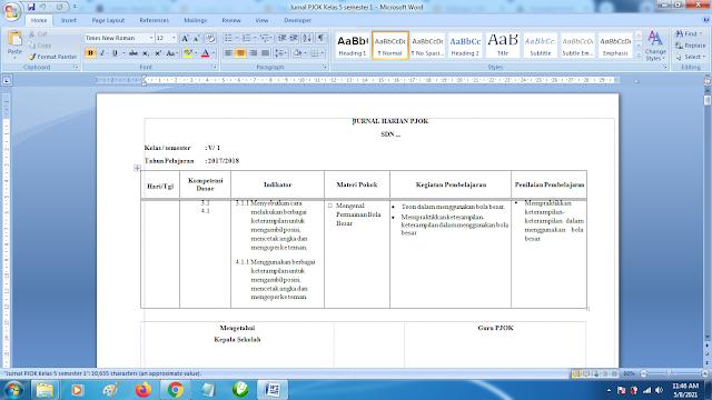 Contoh Format Jurnal Harian PJOK Kelas 5 SD Semester 1 k13 Revisi Terbaru