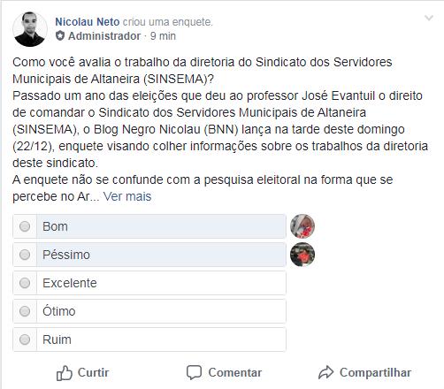 Blog Negro Nicolau lança enquete avaliativa dos trabalhos da diretoria do SINSEMA