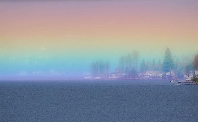 Arco-íris horizontal fotografado por Cessna Kutz/Reprodução